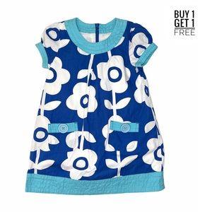 Mini Boden Girls Blue Floral Aqua Trim Dress 4/5Y
